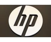 HP-Logo in silber auf schwarzem Hintergrund