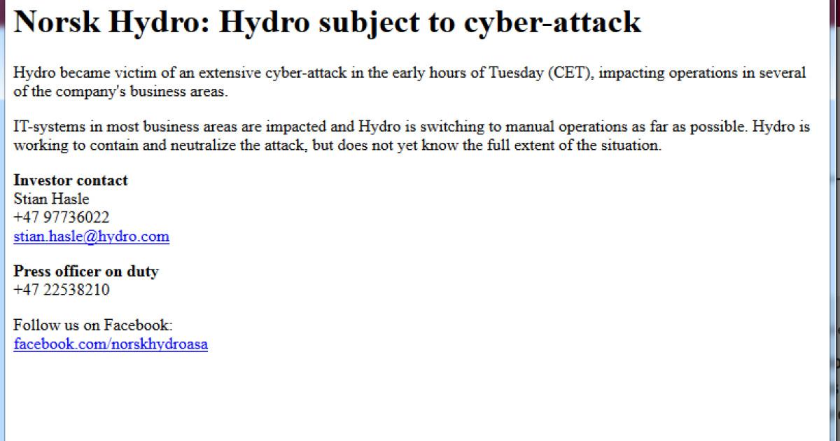 Cyberangriff-auf-Aluminiumkonzern-Norsk-Hydro