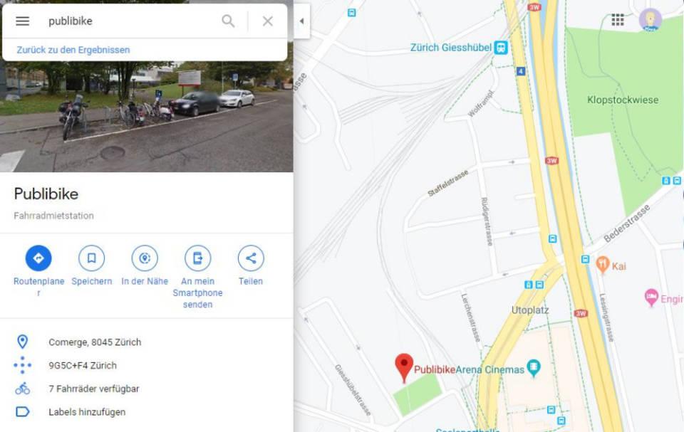 Google Maps zeigt Mietvelostationen in Zürich - computerworld.ch on