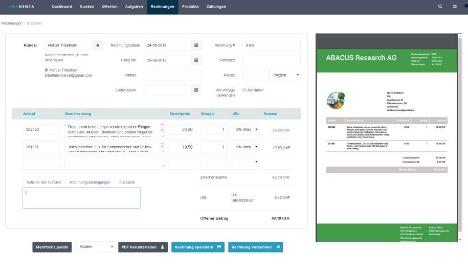 Abacus Macht Online Fakturierungssoftware Gratis Computerworldch