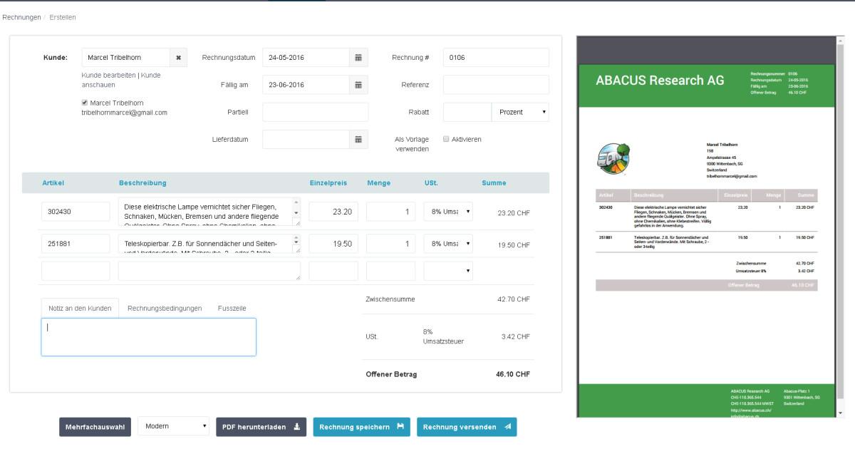 abacus macht online fakturierungssoftware gratis. Black Bedroom Furniture Sets. Home Design Ideas