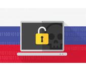 Russische Flagge und Ransomware