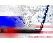 Russische Hacker und Amerika-Flagge