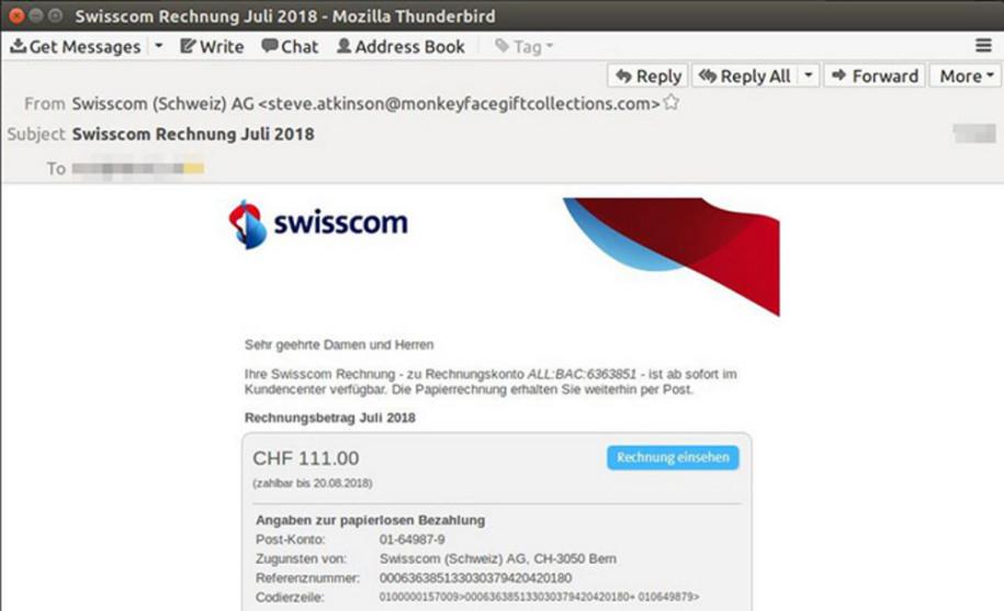 Melani Warnt Vor Gefälschten Swisscom Rechnungen Computerworldch