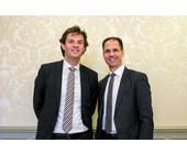 André Arrigoni, Partner bei der AWK-Group, und Oliver Vaterlaus, CEO der AWK-Group sprachen an einem Medien-Event über die Strategie des Unternehmens und Lösungsansätze für die Digitalisierung des ÖVs.